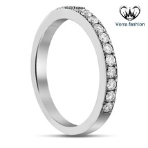 18k White Gold Plated Pure 925 Silver Round Cut Lab Diamond Women's Band... - £43.59 GBP