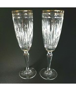 2 (Two) WATERFORD Marquis HANOVER GOLD Cut Crystal Champagne Flutes 24K ... - $153.42