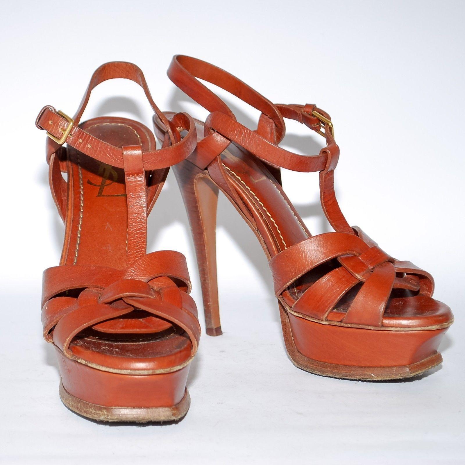 8b454fb6198 S l1600. S l1600. Previous. Yves Saint Laurent Brown Tribute Patent Leather  High Heels Sandals Pumps ...