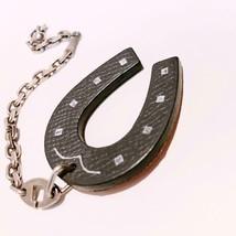 Hermes Charm Horseshoe Bicolor Graphite Silver Keyring - $187.11