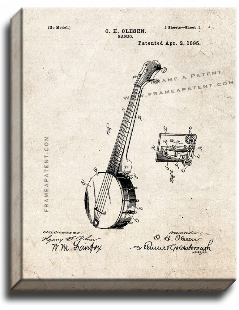 Primary image for Banjo Patent Print Old Look on Canvas