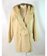 Vtg 90s Wool & Faux Fur Trench Coat Beige Cloak Hooded Duster Jacket Wom... - $24.74