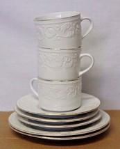 "Farberware CALAIS 4173 China Mugs, Cups, Saucers & 7.5"" Bread & Butter P... - $24.19"