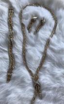 Parure Gold Tone Jewelry Set Rope Chain Rhinestones Dangle Earrings Costume - $74.69