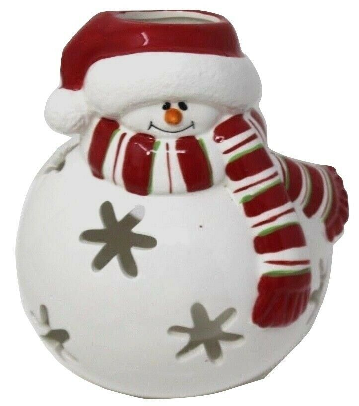 "Primary image for Vintage  Large Christmas Snowman Candle Luminary 7""H"