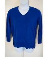 Maison Jules Women's Long Sleeve V-neck Side Slits Egyptian Blue Sweater... - $20.34