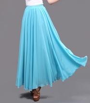 AQUA BLUE Long Chiffon Skirt High Waisted Full Circle Wedding Bridesmaid Skirt image 6