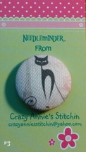Crazy Cat #3 Needleminder fabric cross stitch needle accessory - $7.00