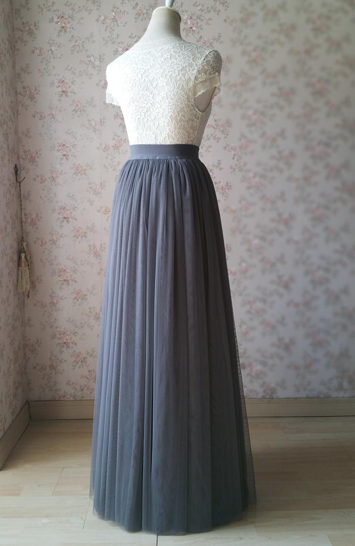 Gray maxi skirt tulle 07