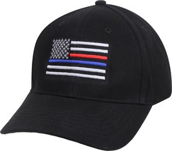 Black Thin Blue Line Thin Red Line USA Flag Support Police Firefighters Hat Cap - $9.99