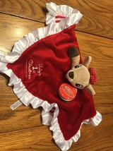 Rudolf Faline Baby's First Christmas Girl Reindeer security blanket red bow - $21.76