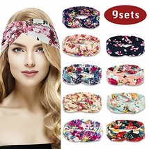 9 Pack Women's Headbands Boho Floal Style Bow Knotted Cross Head Wrap Yo... - $14.37