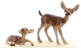 Hagen-Renaker Miniature Ceramic Deer Figurine Mama Doe and Baby Fawn Lying Set