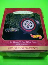 Hallmark 1999 Keepsake 2 Ornaments JET THREAT Hot Wheels Car With Case NIB - $10.88