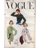 "Vintage Vogue 8951 Set of Blouses Long Sleeves Date 1956 Bust 38"" - $30.00"