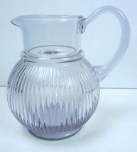 Collectible Teleflora Round Ribbed Glass Pitcher - Vase With Purple Tint  - $11.29