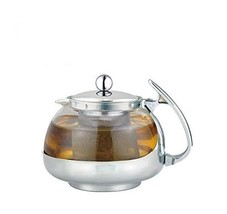Stainless Steel Glass TEA POT Teapot w. Stainless steel Strainer filter ... - €12,92 EUR