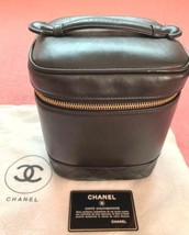 Auth CHANEL Vanity Vintage Black Leather Logo Zipper Mini Pouch B2954 - $438.57