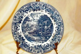 Staffordshire 2006 Engravings #9507 17th Century Blue Salad Plate - $6.92