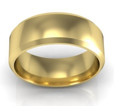 14K Yellow Gold Plated Simple High Polish Comfort 7mm-Plain-Wedding-Band Ring - $89.99