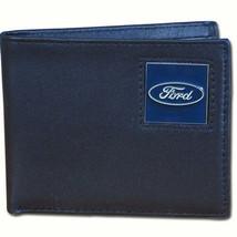 ford motors automobile auto car logo leather bi-fold wallet usa made - $37.99