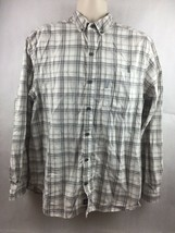 Columbia White Gray and Brown Plaid Men's Button Up Long Sleeve Shirt Size L - $18.69
