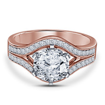 Womens Engagement Diamond Promise Ring 14k Rose Gold Finish 925 Sterling... - £55.74 GBP