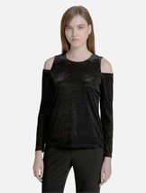 Calvin Klein Women's Velvet Cold Shoulder Striped Shirt Top, Large, Black - $29.00