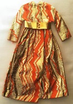Vintage Barbie Goldswinger #1494 Orange Gold Metallic Evening Coat  278-22 - $48.00