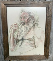 Vintage 1979 Signed Large Old Man Smoking Pipe Colored Pencil Art Drawing - $179.99