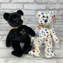 Ty 2K Confetti New Year Bear and The End Black Bear Hang Tags Lot of 2 - $21.91