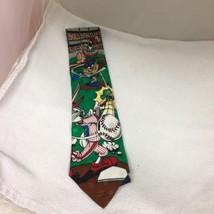 Looney Tunes Silk Tie Bugs Bunny Tasmanian Devil Marvin Martian Playing Baseball - $29.69