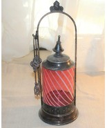 Antique Victorian Silverplate Cranberry Striped Glass Pickle Castor With... - $202.50