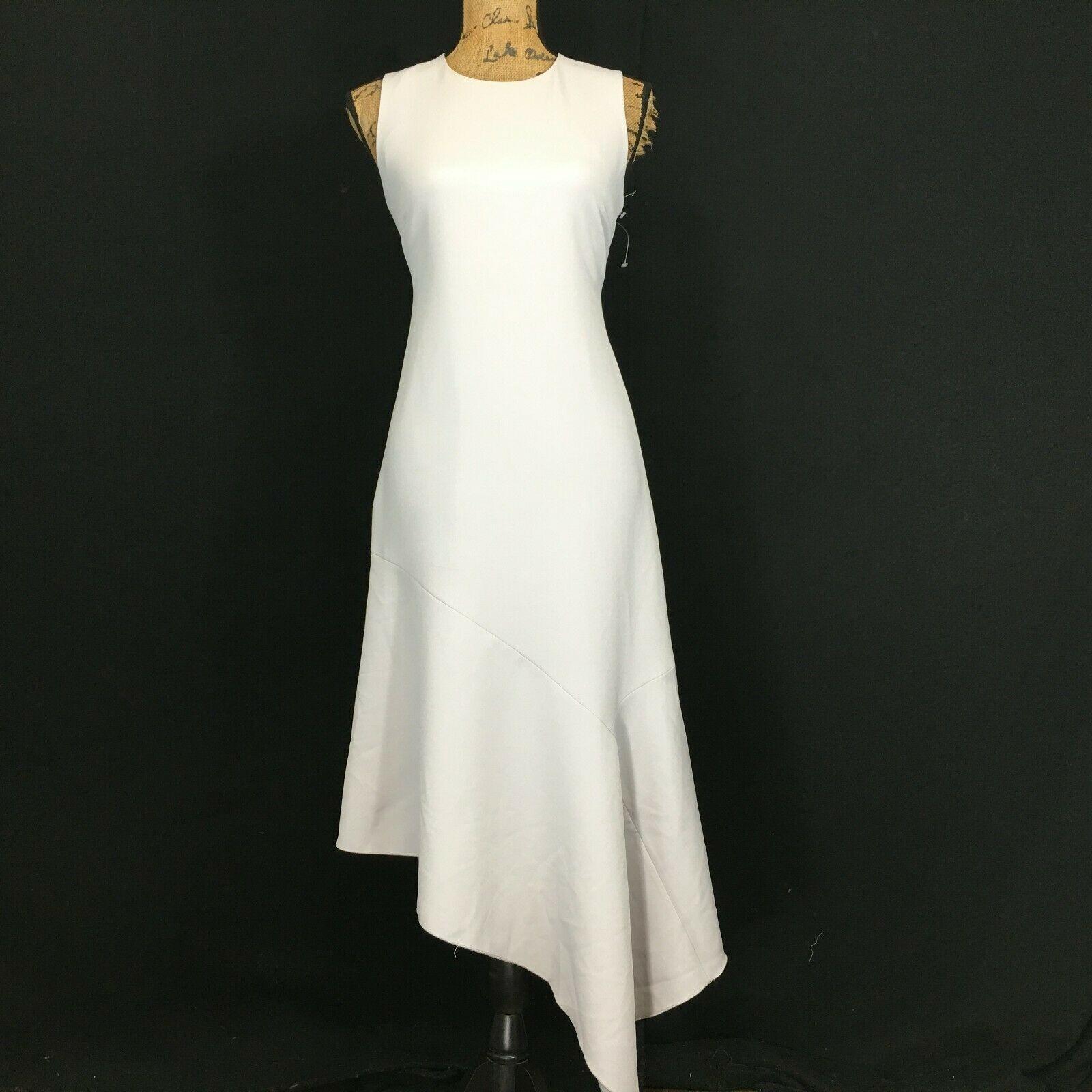 NEW Anne Klein Dress 4 Sm Grey Long Pencil Fit Flare Asymmetric Hem Sexy $139