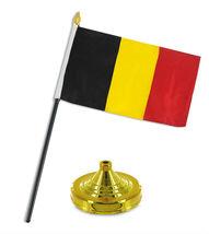 "Belgium 4""x6"" Flag Desk Set Table Stick Gold Base - $18.00"