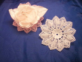 "24 White corsage flower base plastic 3.5"" dia lace like - $7.91"