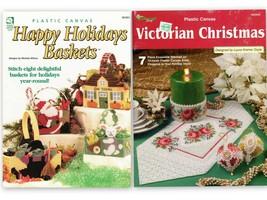 Plastic Canvas Victorian Christmas & Happy Holidays Baskets Leaflets - $5.95