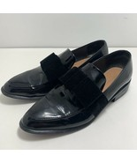 Zara Faux Black Patent Leather Velvet Bow Loafers Shoes Womens Size 37 U... - $34.62