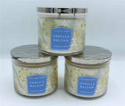 x3 Bath & Body Works Vanilla Balsam Large Three Wick Jar Candle 2018 - $65.99