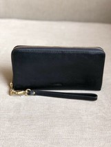 NWT Fossil Emma Black RFID Large Zip Around  Wristlet Leather Clutch Wal... - $74.25
