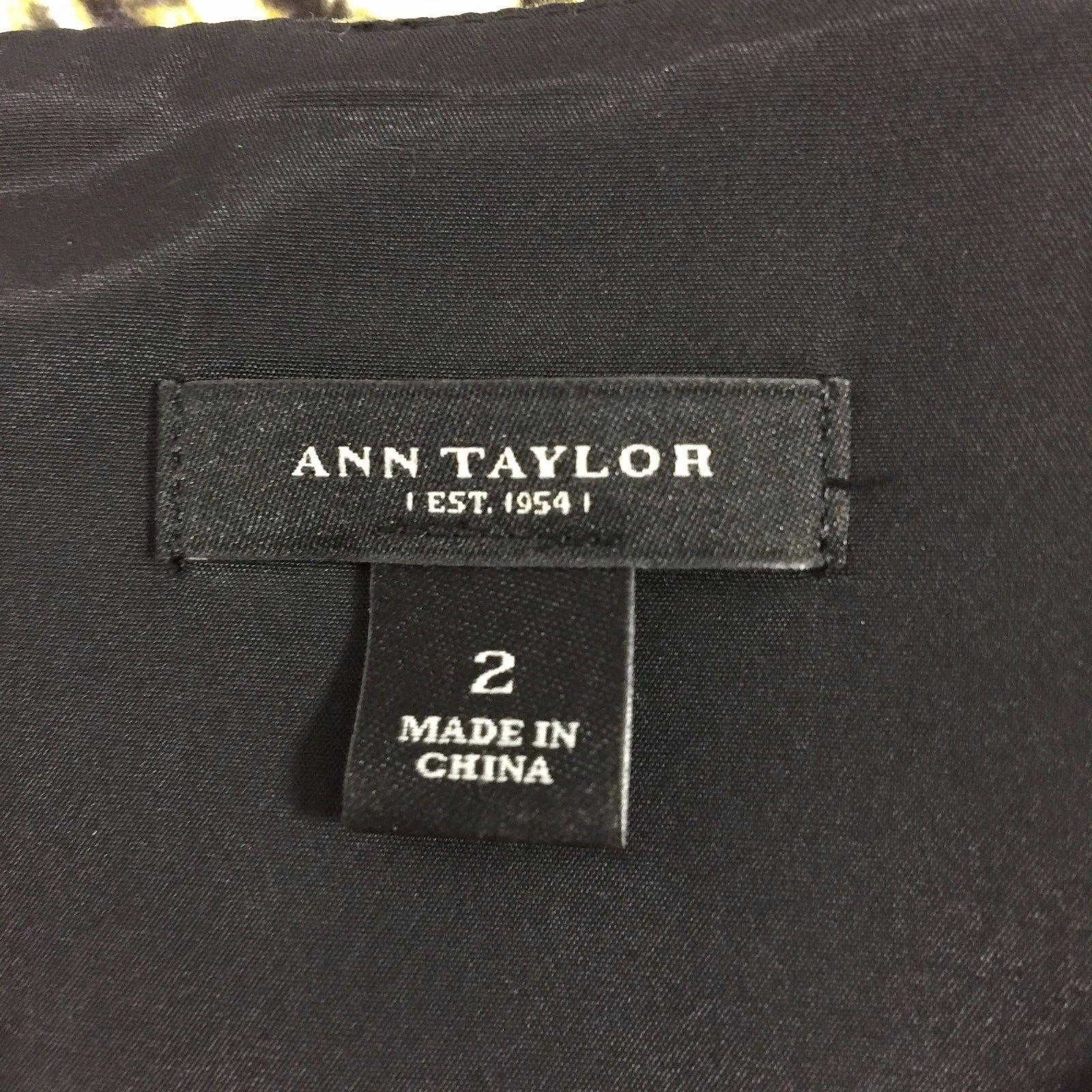 Ann Taylor Dress 2 Sm S White Black Green Animal Burnout Print Window Pane Sexy