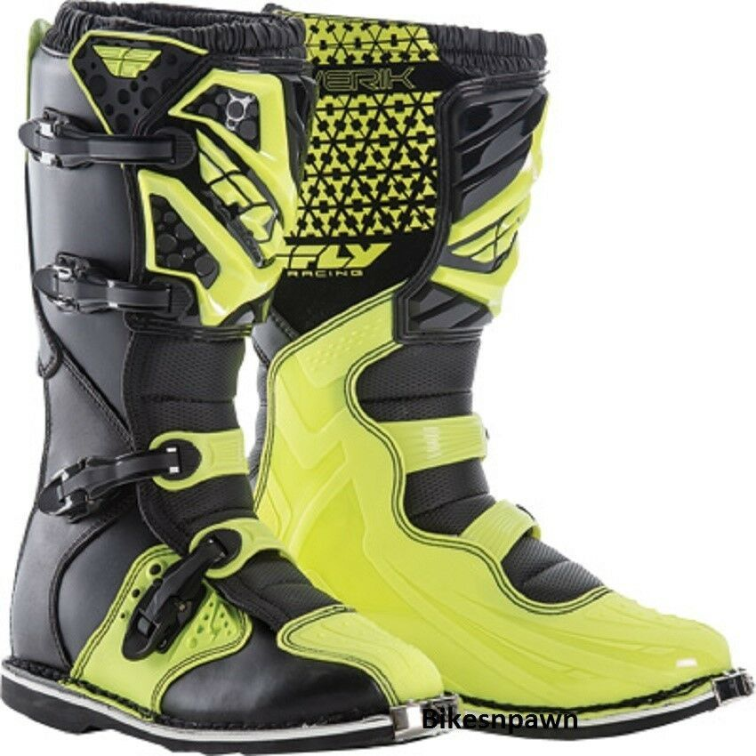 New Adult Size 9 Fly Racing Maverik Hi-Vis Motocross MX ATV Boots
