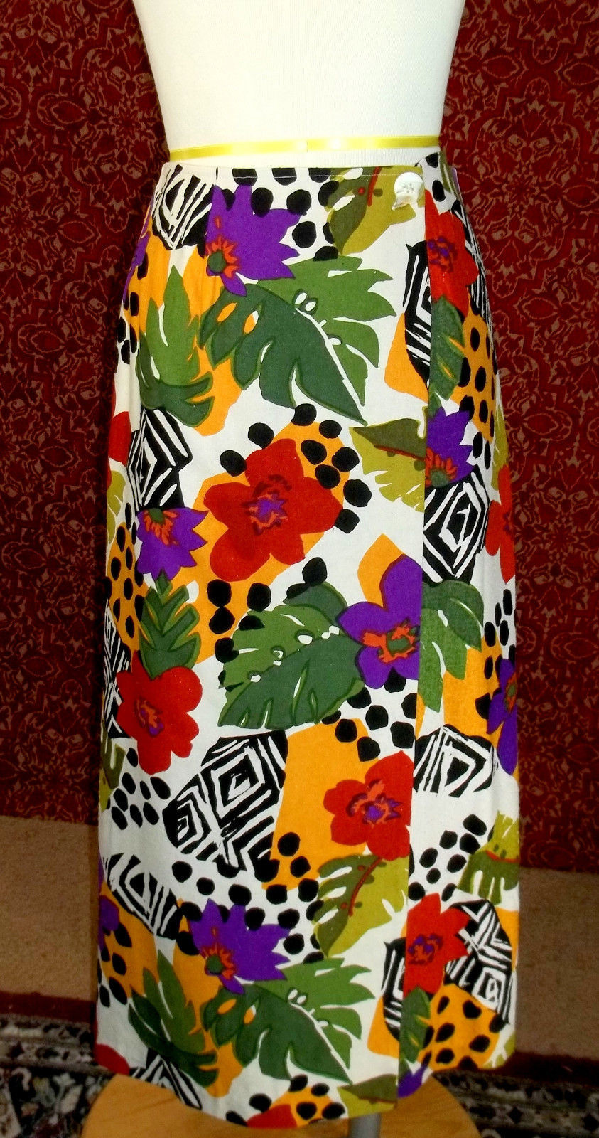 NWT WHITE STAG  muticolor floral animal tribal silk wrap skirt 14 (T2701A8G)