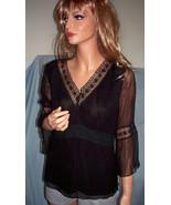 $65 S Small Spenser Jeremy Black Pullover Top Shirt Tunic VINTAGE Elegan... - $24.99