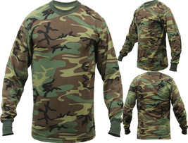 Tactical Long Sleeve Camo Tee Mens Woodland Camouflage Military Army T-S... - $13.99+