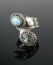 Vintage .925 Sterling Silver Signed CFJ Wrapped Abalone Roped Size 7 Rin... - $40.29