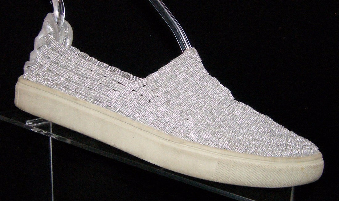 568e916065f S l1600. S l1600. Previous. Steve Madden  Exx  silver metallic woven slip  on sneaker loafer shoe 4M