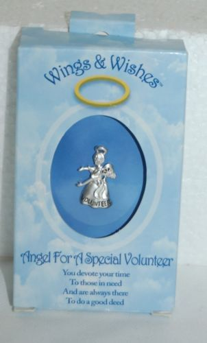 DM Merchandising Wings Wishes Special Volunteer Silver Colored Angel WGW3VOL
