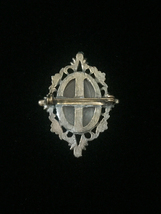 Vintage 50s Oval Agate and brass/gold frame brooch image 3