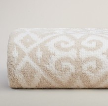 Kashwere Diamond Damask Malt and Cream Throw Blanket - €137,43 EUR